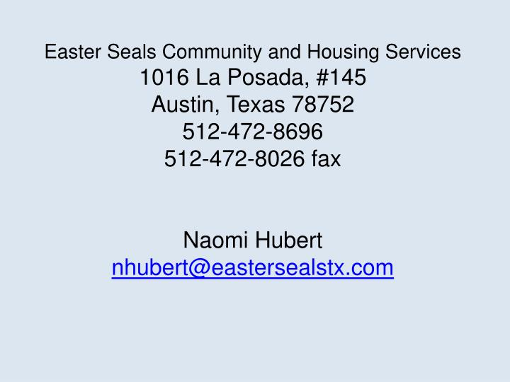 Easter Seals Community and Housing Services