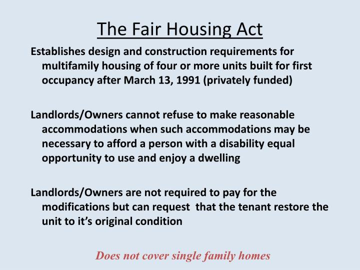 The Fair Housing Act