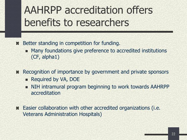 AAHRPP accreditation offers benefits to researchers