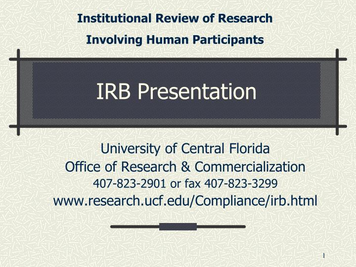 Institutional Review of Research