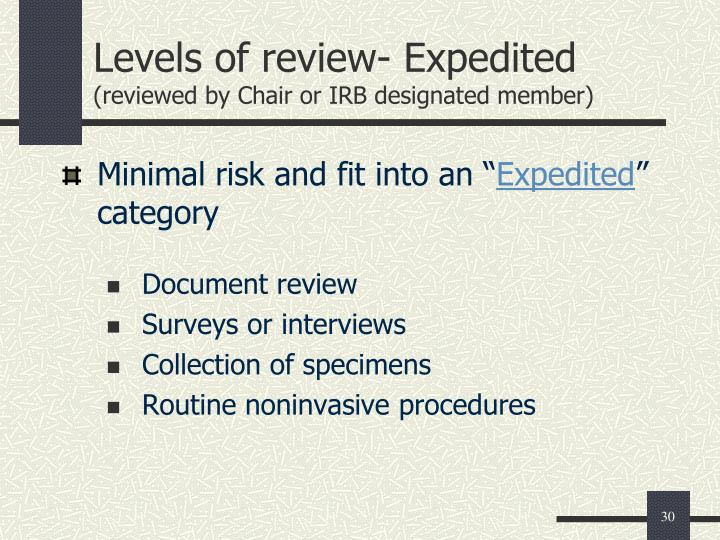 Levels of review- Expedited