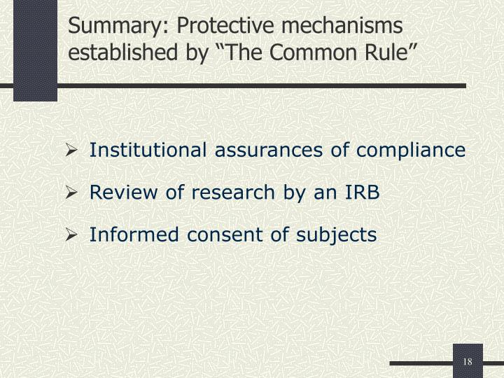 "Summary: Protective mechanisms established by ""The Common Rule"""