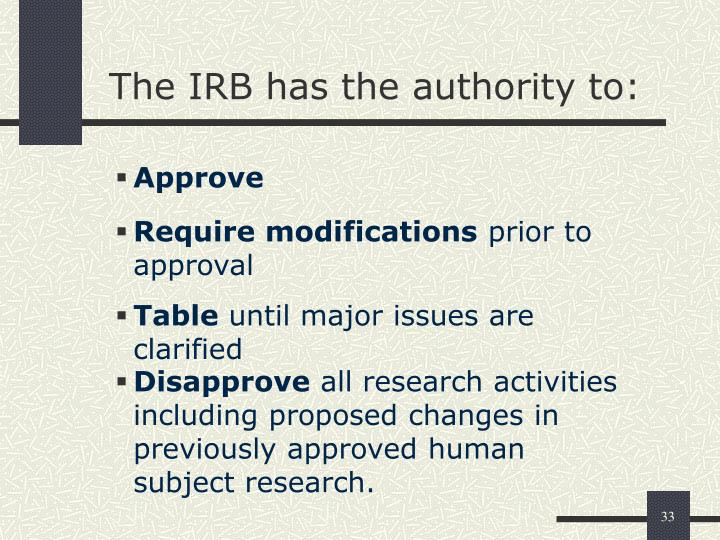The IRB has the authority to: