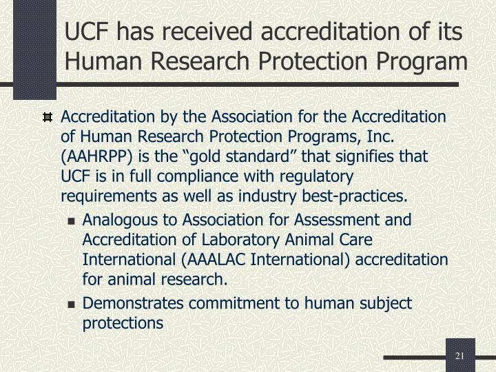 UCF has received accreditation of its Human Research Protection Program