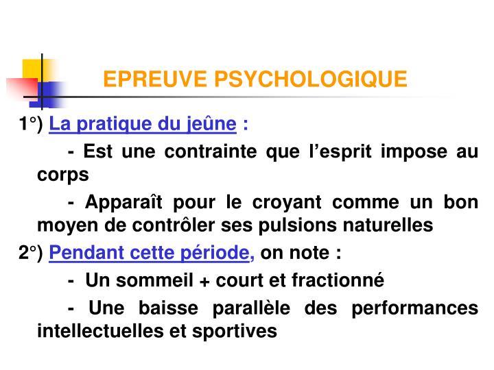 EPREUVE PSYCHOLOGIQUE