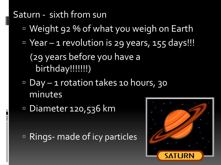 Saturn -  sixth from sun