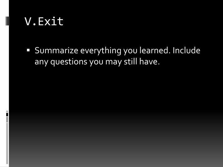 V.Exit