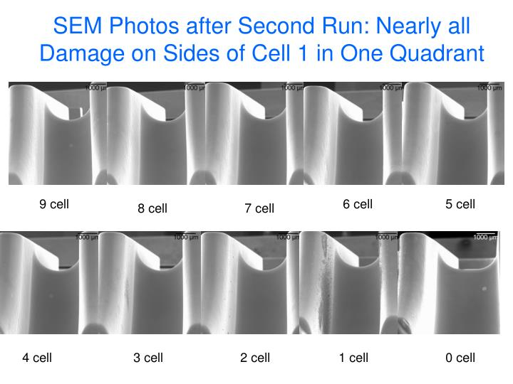 SEM Photos after Second Run: Nearly all Damage on Sides of Cell 1 in One Quadrant