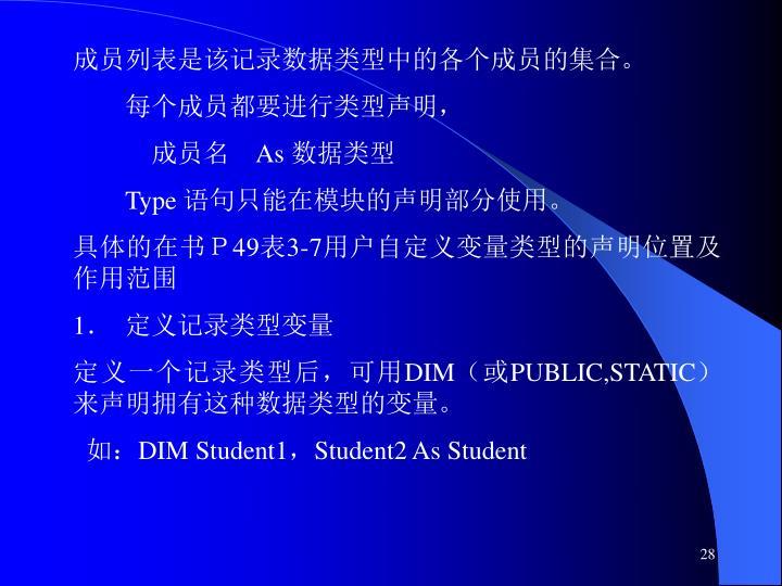 成员列表是该记录数据类型中的各个成员的集合。