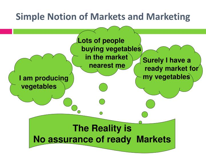 Simple Notion of Markets and Marketing