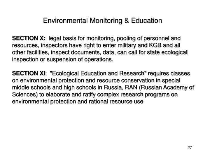 Environmental Monitoring & Education