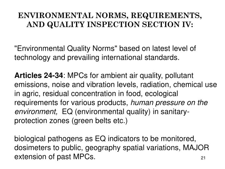 ENVIRONMENTAL NORMS, REQUIREMENTS, AND QUALITY INSPECTION SECTION IV: