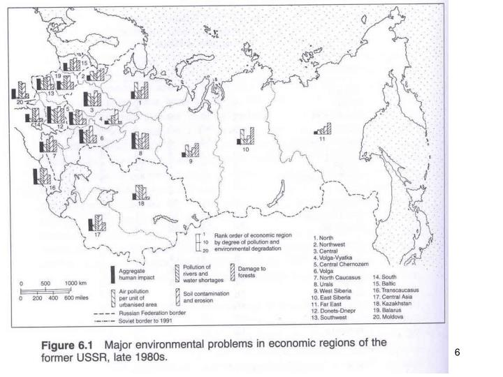 Fig. 6.1 Environmental Problems in economic region of former USSR, late 1980s