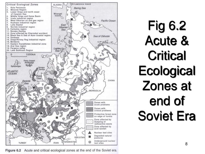 Fig 6.2 Acute & Critical Ecological Zones at end of Soviet Era