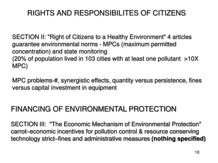 RIGHTS AND RESPONSIBILITES OF CITIZENS
