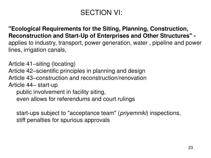 SECTION VI: