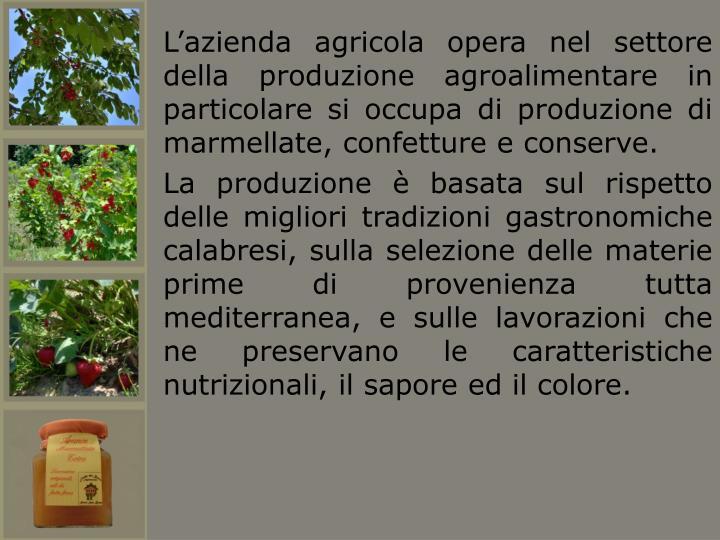 L'azienda agricola opera nel settore della produzione agroalimentare in particolare si occupa di produzione di marmellate, confetture e conserve.