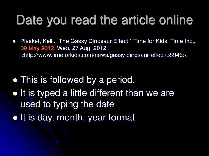 Date you read the article online