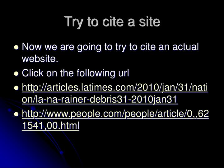 Try to cite a site