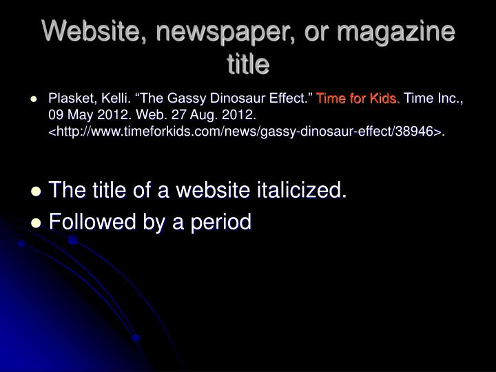 Website, newspaper, or magazine title