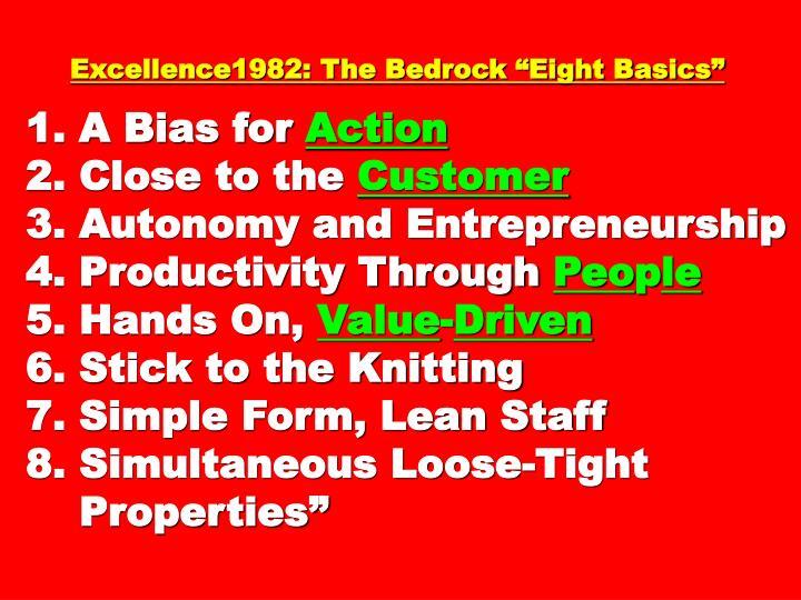 "Excellence1982: The Bedrock ""Eight Basics"""