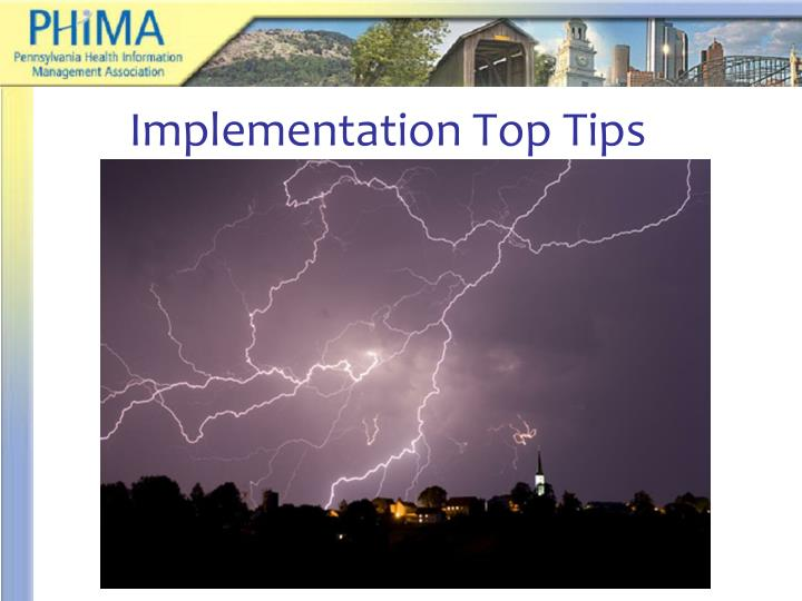 Implementation Top Tips
