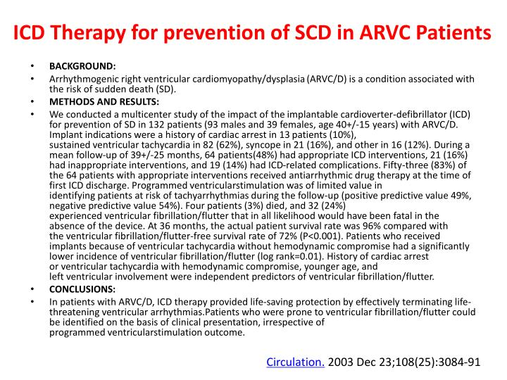 ICD Therapy for prevention of SCD in ARVC Patients