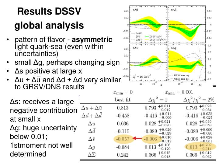 Results DSSV global analysis