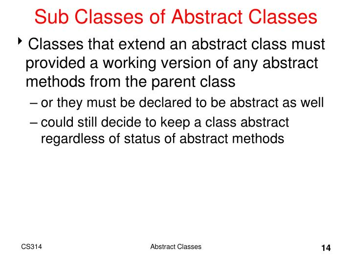 Sub Classes of Abstract Classes