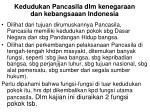 kedudukan pancasila dlm kenegaraan dan kebangsaaan indonesia