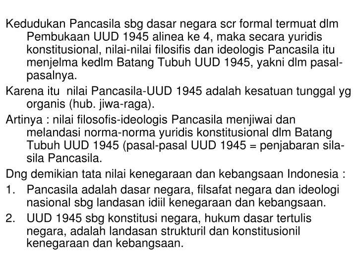 Kedudukan Pancasila sbg dasar negara