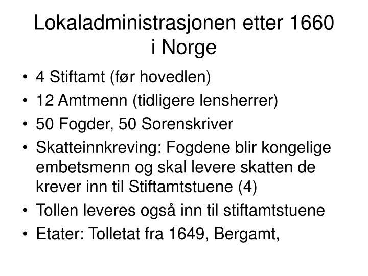 Lokaladministrasjonen etter 1660
