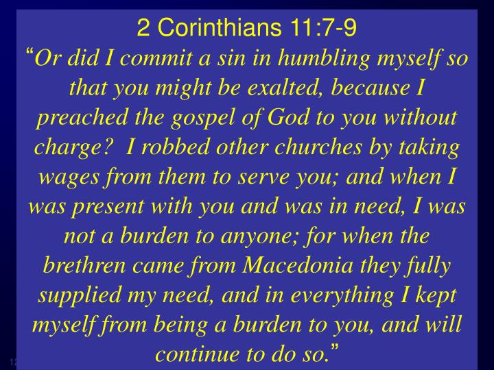 2 Corinthians 11:7-9