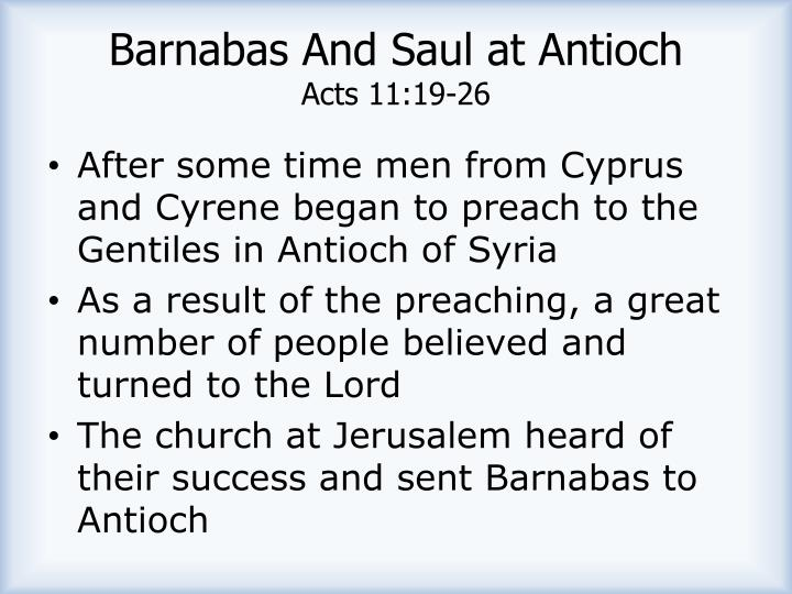 Barnabas And Saul at Antioch