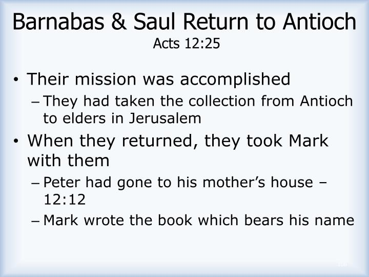 Barnabas & Saul Return to Antioch