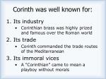 corinth was well known for