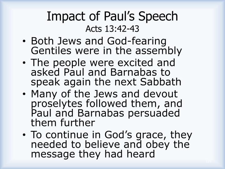 Impact of Paul's Speech