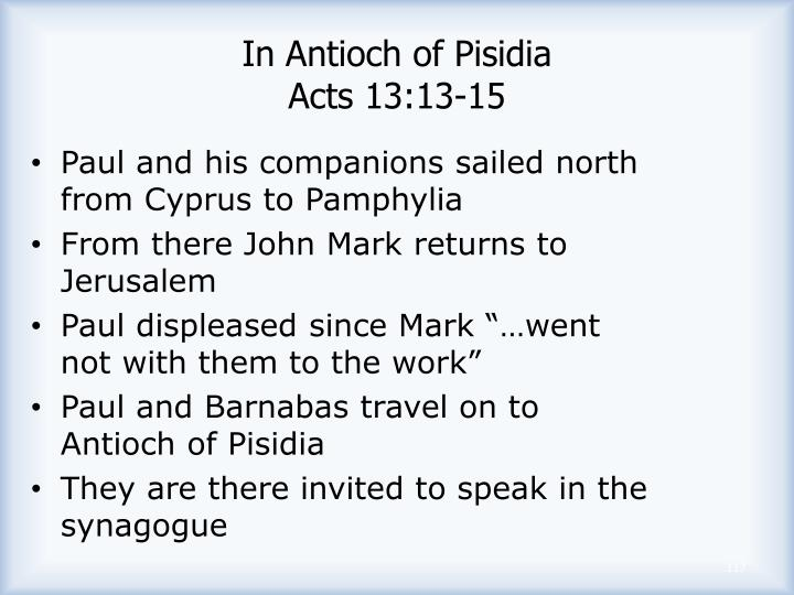 In Antioch of Pisidia
