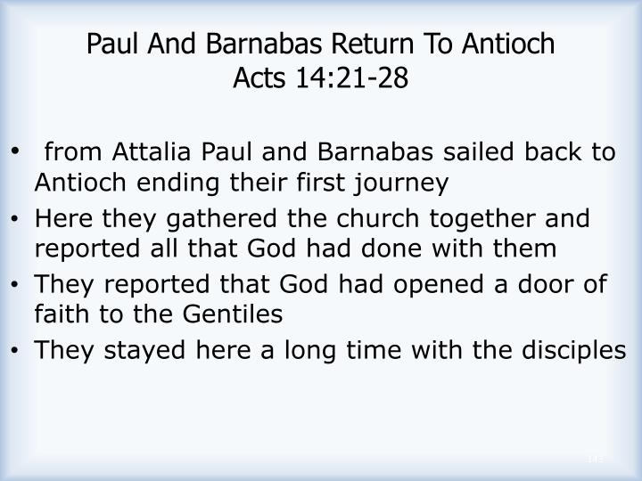 Paul And Barnabas Return To Antioch