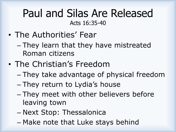 Paul and Silas Are Released