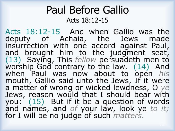 Paul Before Gallio