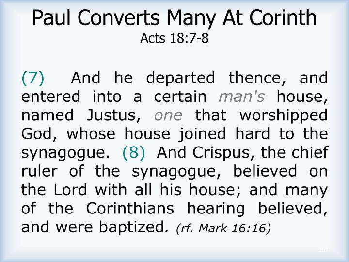 Paul Converts Many At Corinth