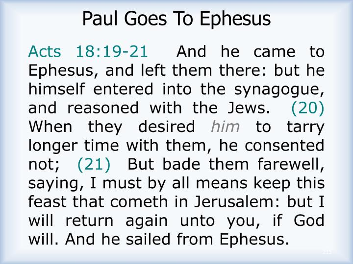 Paul Goes To Ephesus