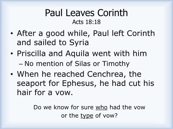 Paul Leaves Corinth