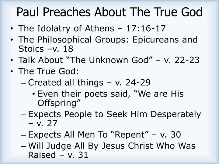 Paul Preaches About The True God