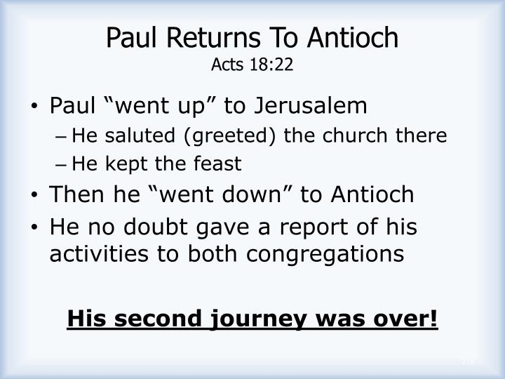 Paul Returns To Antioch