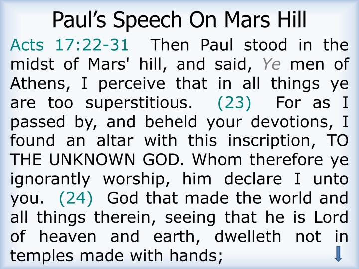 Paul's Speech On Mars Hill