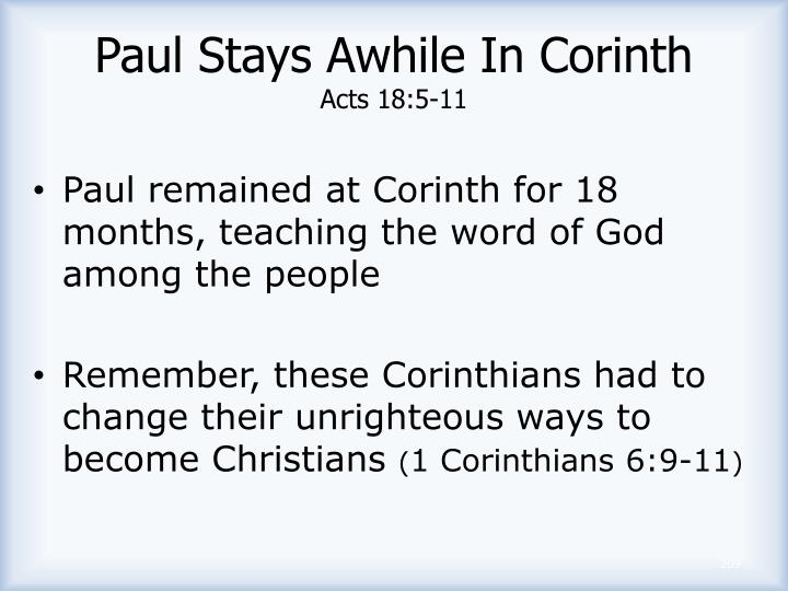 Paul Stays Awhile In Corinth