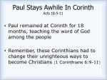 paul stays awhile in corinth acts 18 5 11