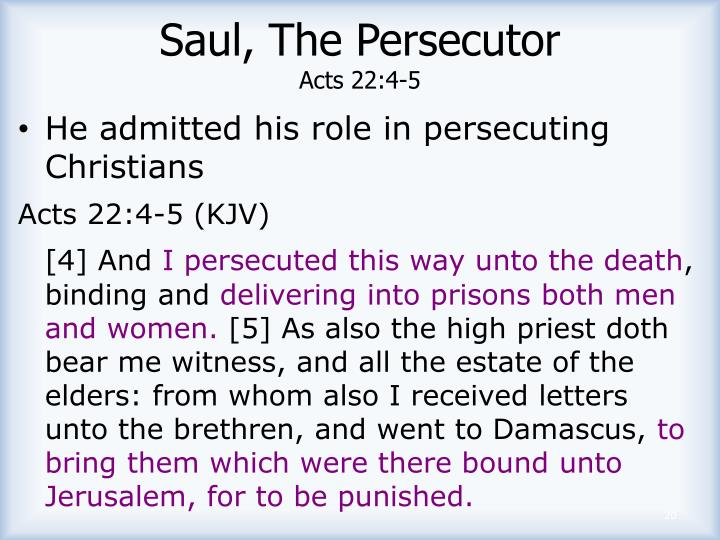 Saul, The Persecutor